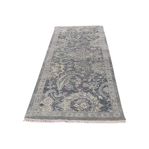 Silk With Textured Wool Hand Knotted Oushak Influence Runner Oriental Rug
