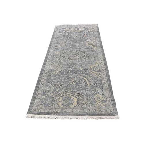 Silk With Textured Wool Hand Knotted Oushak Influence Runner Rug