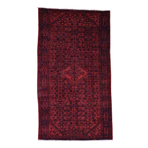 Hand-Knotted Vintage Overdyed Persian Malayer Wide Runner