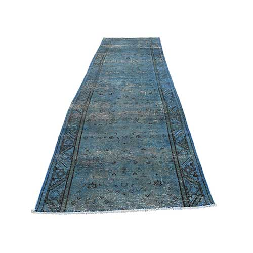 Hand Knotted Vintage Overdyed Persian Hamadan Fragment Wide Runner