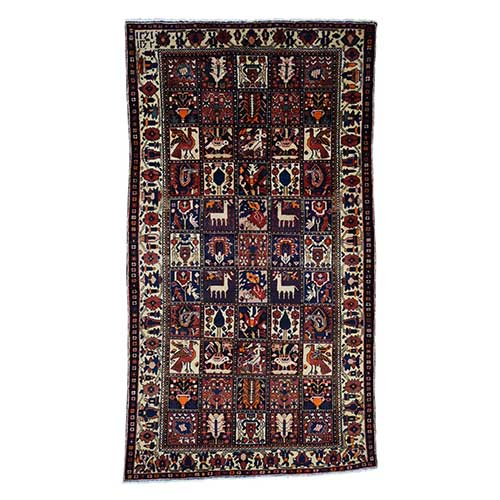 Semi Antique Persian Bakhtiari Garden Design Wide Runner Hand Knotted