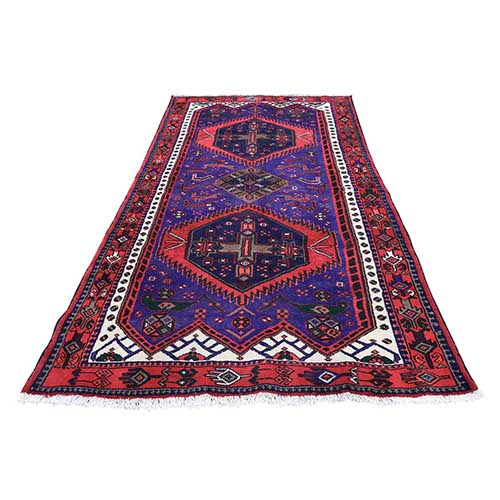 Persian Hamadan Full Pile Hand Knotted Wide Runner Oriental