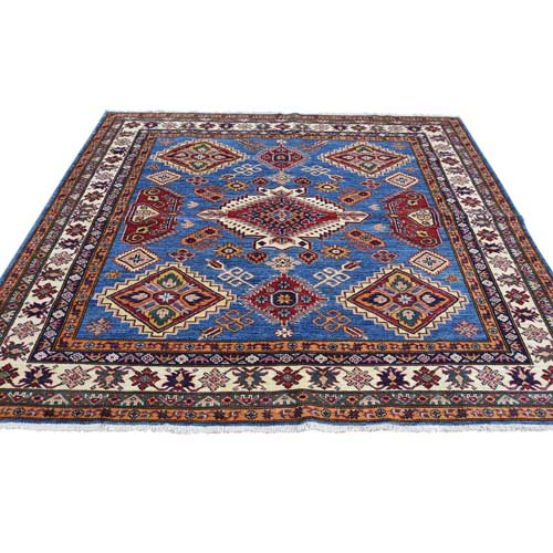 Hand-Knotted Super Kazak 100 Percent Wool Square Oriental