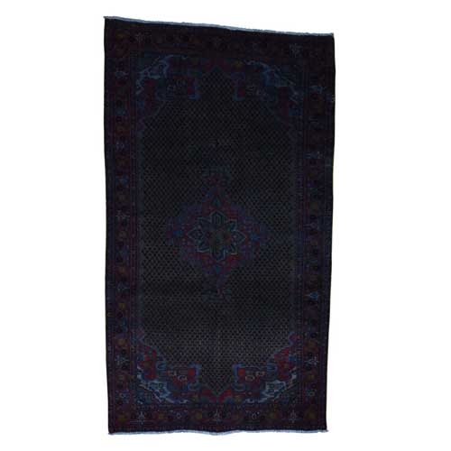 Vintage Overdyed Persian Hamadan Wide Runner Hand Knotted