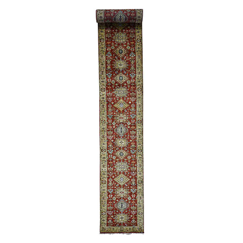 Hand-Knotted XL Runner Karajeh Pure Wool Rust Red Oriental