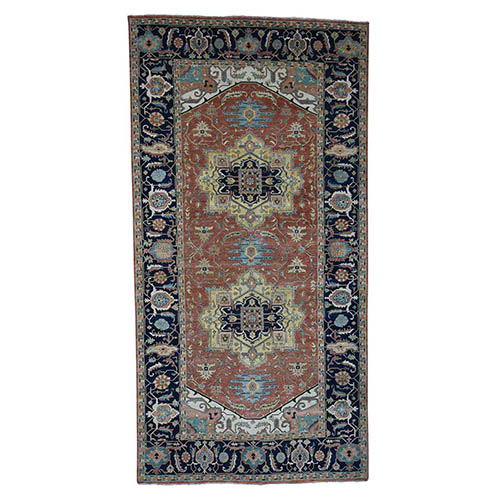 Antiqued Heriz Re-creation Hand-Knotted Wide Runner Oriental