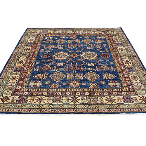 Hand-Knotted Geometric Design Super Kazak Pure Wool Square Oriental