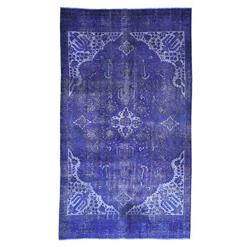 Overdyed Persian Tabriz Pure Wool Wide Runner Hand-Knotted Hand Knotted