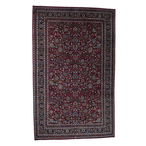 Persian Mashad 300 Kpsi High Quality Oversize Hand-Knotted Oriental