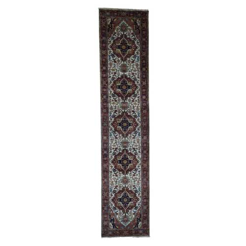 Antiqued Heriz Re-Creation Hand-Knotted Pure Wool Runner Rug