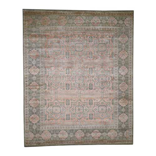 Hand-Knotted Mamluk Design Silk With Textured Wool Oriental