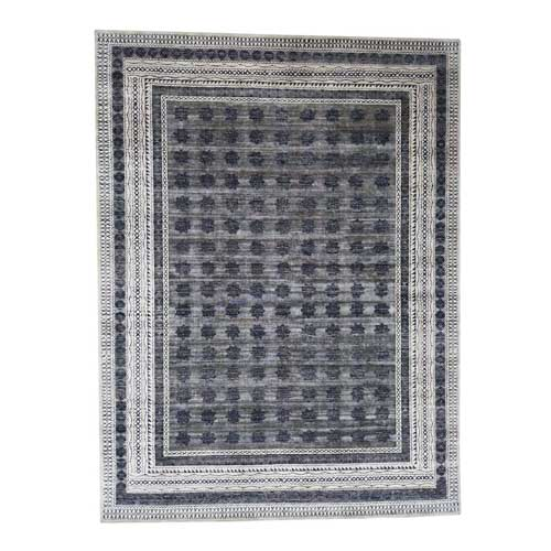 Hand-Knotted Silk with Oxidized Wool Repetitive Design Oriental