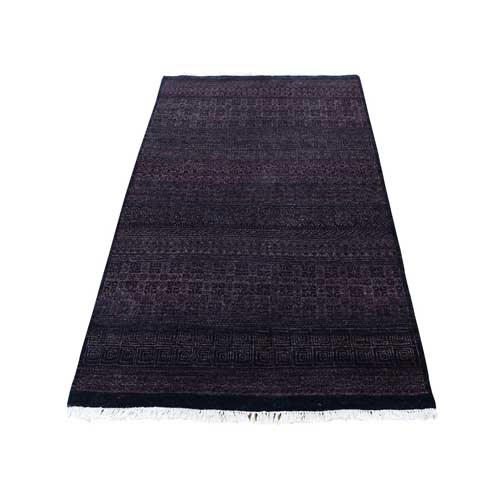 Grass Design Purple Wool and Silk Hand-Knotted Oriental