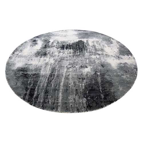 Abstract Design Wool And Silk Hand-Knotted Round Rug