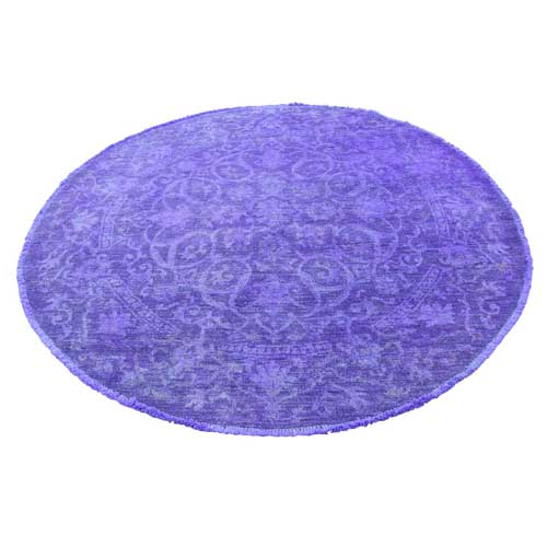 Overdyed Peshawar Purple Mahal Design Round Hand-Knotted Oriental