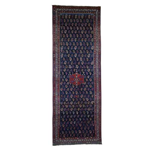 Hand-Knotted Antique Kurdish Bidjar Full Pile Mint Cond Wide Runner