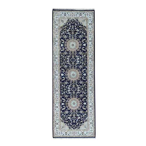 Hand-Knotted Runner 250 KPSI Nain Blue Navy Wool and Silk Oriental Rug
