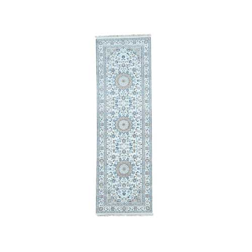 Hand-Knotted Wool and Silk 250 Kpsi Ivory Nain Runner Rug