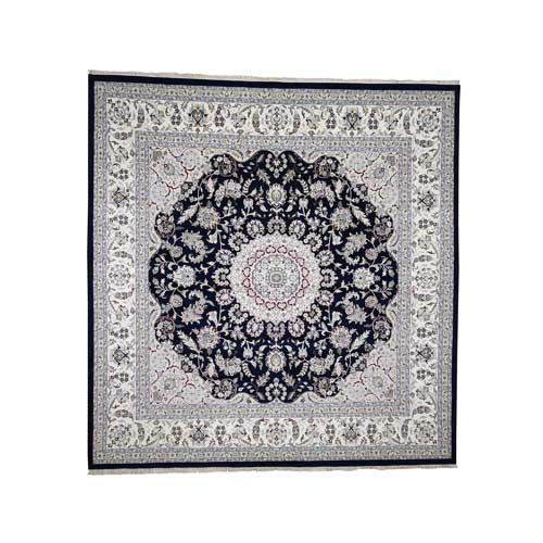 Wool and Silk 250 Kpsi Navy Blue Nain Hand-Knotted Oriental Square Rug