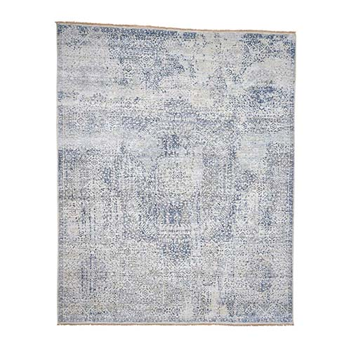 Pure Silk With Textured Wool Vintage Hand Knotted Mamluk