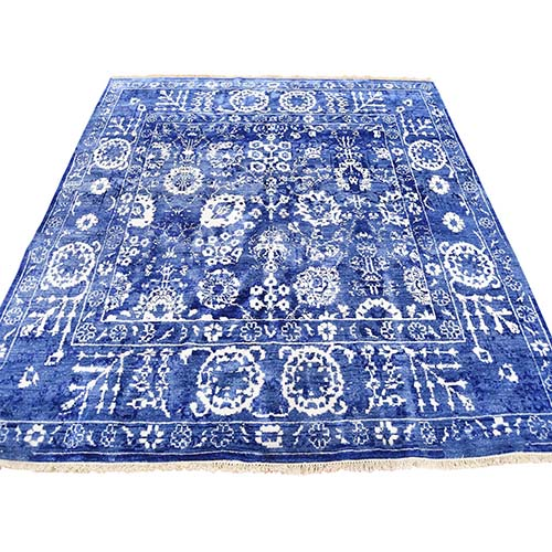 Hand-Knotted Wool and Silk Tone on Tone Square Tabriz Oriental