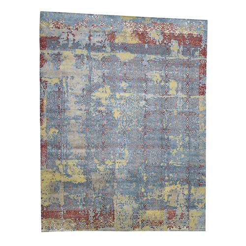Hand-Knotted Silk With Textured Wool Broken Design Oversize Rug
