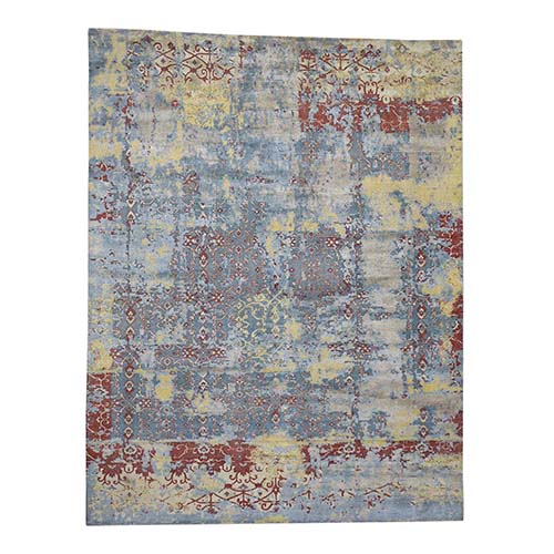 Hand-Knotted Silk With Textured Wool Broken Design Oriental Rug