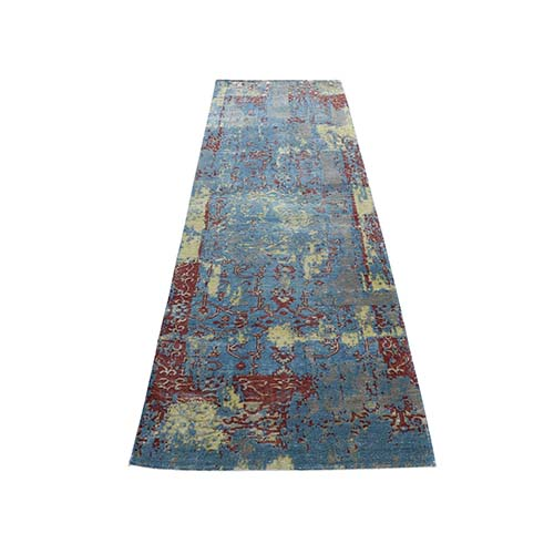 Hand-Knotted Silk With Textured Wool Broken Design Rug