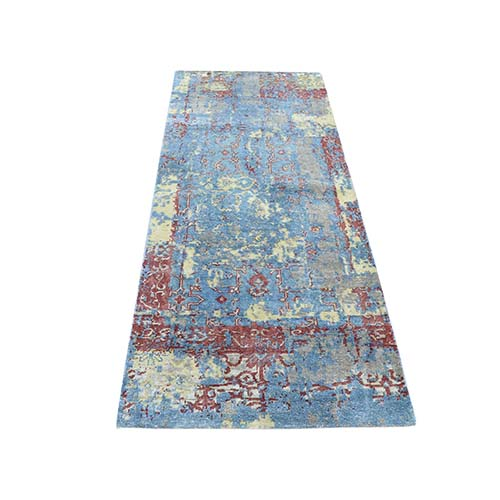 Hand-Knotted Silk With Textured Wool Broken Design Runner Rug