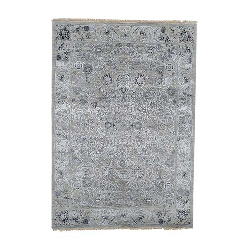 Grey Traditional Kashan with Wool and Silk Hand Knotted Rug