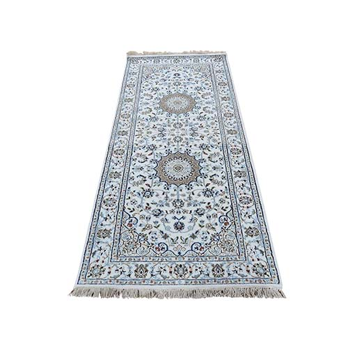 Hand-Knotted Wool and Silk 300 KPSI Ivory Nain Runner Oriental Rug