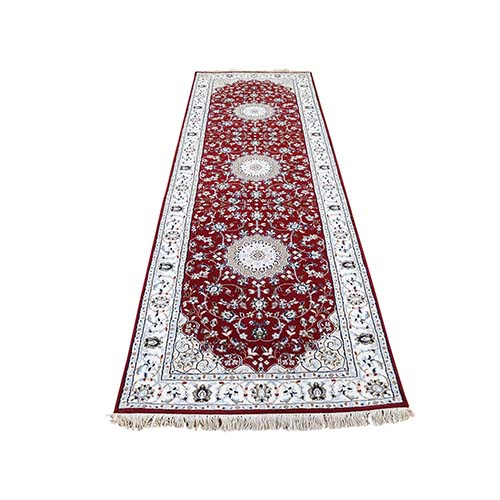 Wool and Silk 250 KPSI Red Nain Hand-Knotted Runner Rug