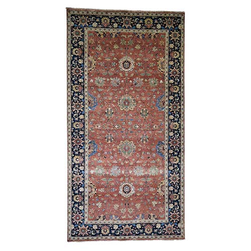Antiqued Heriz Re-Creation All Over Design Wide Runner Hand-Knotted Oriental