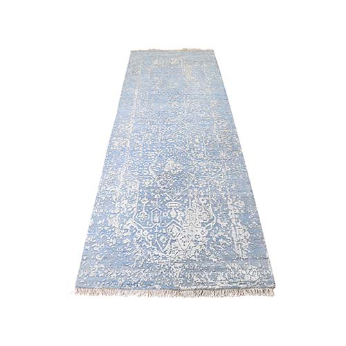 Hand-Knotted Broken Persian Design Runner Wool And Pure Silk Oriental