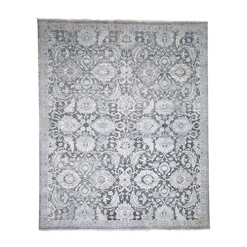 Hand-Knotted Oushak Influence Silk Oxidized Wool Oriental