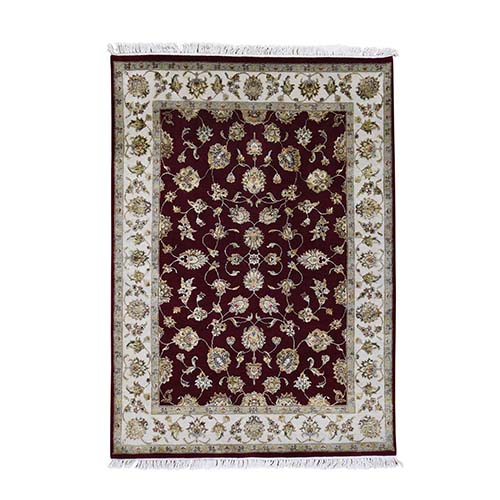 Wool And Silk Rajasthan Hand-Knotted Oriental Rug
