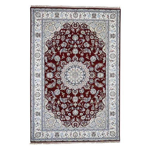 Red Wool and Silk Nain 250 KPSI Hand Knotted Oriental Rug