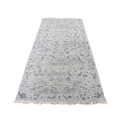 Hand-Knotted Wool and Silk Transitional Kashan Design Runner Oriental Rug
