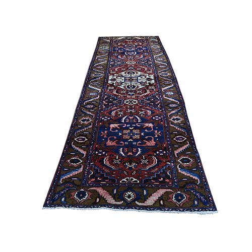 Semi Antique Persian Heriz Pure Wool Wide Runner Mint Condition Hand-Knotted Oriental
