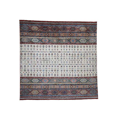 Super Kazak Khorjin Design Square Hand-Knotted Pure Wool Oriental