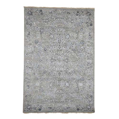Grey Transitional Kashan Design with Wool and Silk Hand Knotted Rug