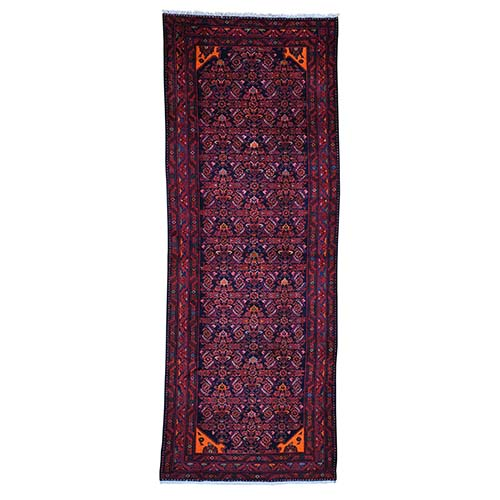 Semi Antique Persian Malayer Wide Runner Pure Wool Mint Condition Hand-Knotted Oriental
