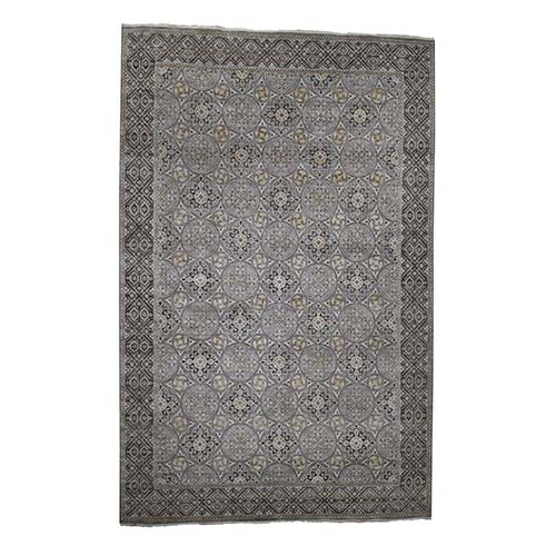 Textured Wool and Silk Oversize Mughal Inspired Medallions Hand-Knotted Oriental Rug