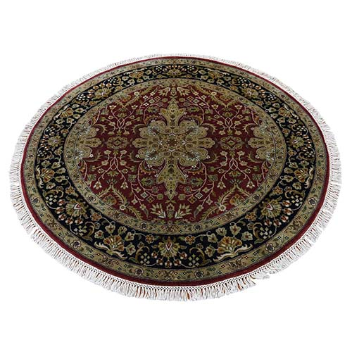 300 Kpsi Kashan Revival New Zealand Wool Round Hand-Knotted Rug