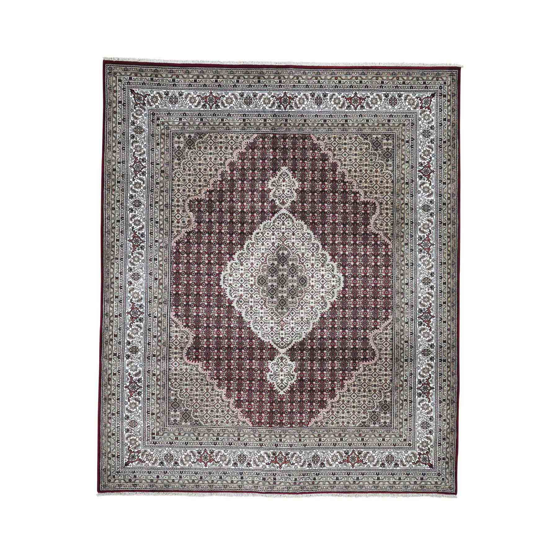 Wool and Silk Hand Knotted 250 Kpsi Tabriz Mahi Oriental Rug