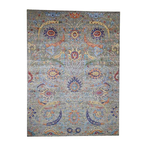 Hand-Knotted Sickle Leaf Design Silk With Textured Wool Oriental Rug