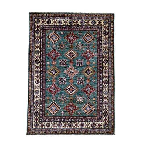 Super Kazak Pure Wool Geometric Design Hand-Knotted Oriental