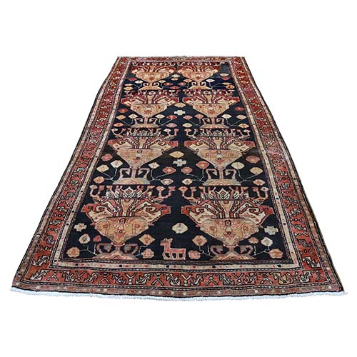 Semi Antique Persian Northeast With Deers Exc Condition Pure Wool Wide Runner Oriental Rug