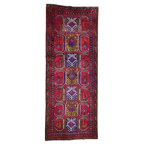 Semi Antique Persian Northeast Pure Wool Wide Gallery Runner Hand-Knotted Oriental