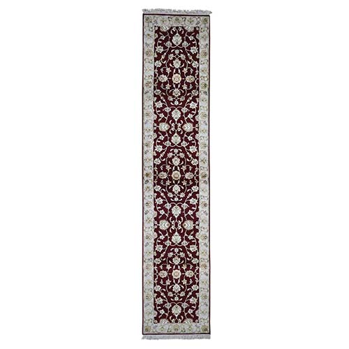 Hand-Knotted Half Wool and Half Silk Rajasthan Runner Oriental Rug